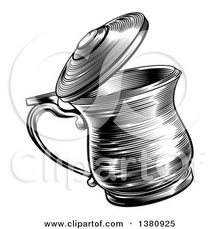 Clipart of a Black and White Retro Woodcut Beer Stein - Royalty Free Vector Illustration by AtStockIllustration