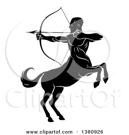 Clipart of a Black and White Centaur Archer, Half Man, Half Horse, Rearing and Aiming to the Left - Royalty Free Vector Illustration by AtStockIllustration