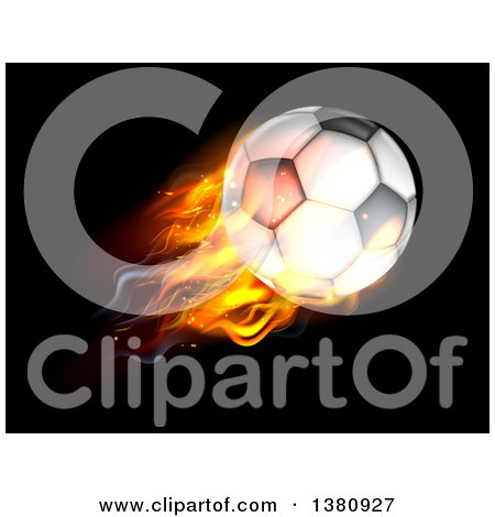 Clipart of a 3d Flaming Soccer Ball Flying over Black - Royalty Free Vector Illustration by AtStockIllustration