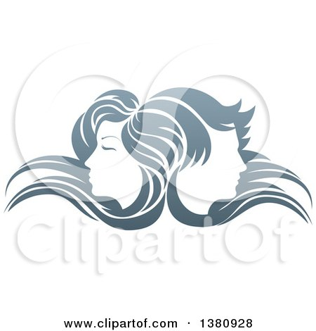 Clipart of Male and Female Faces Back to Back, in Profile, with Long Hair Waving in the Wind - Royalty Free Vector Illustration by AtStockIllustration