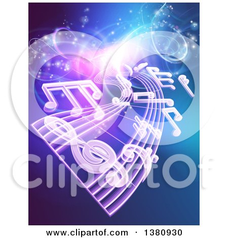 Clipart of a Background of Floating Sheet Music over Blue with Magical Lights - Royalty Free Vector Illustration by AtStockIllustration