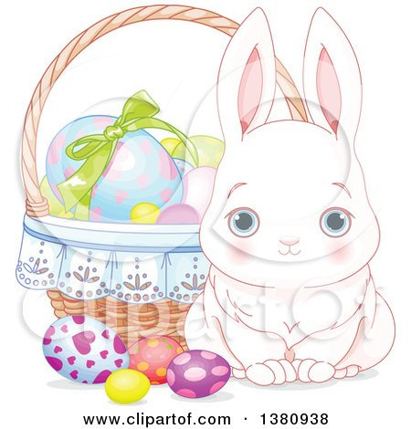 Clipart of a Cute White Easter Bunny by a Basket of Decorated Eggs - Royalty Free Vector Illustration by Pushkin
