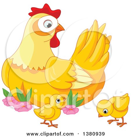 Clipart of a Cute Mother Hen Watching Her Baby Chicks - Royalty Free Vector Illustration by Pushkin