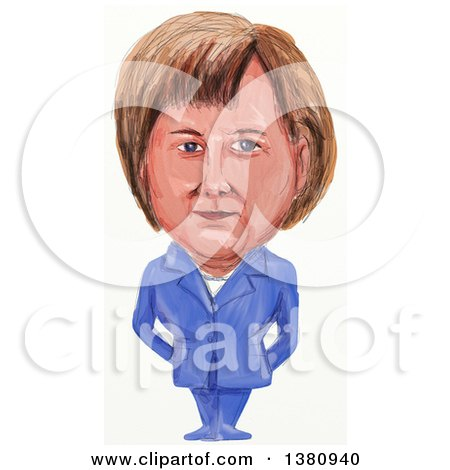Clipart of a Watercolor Styled Caricature of Angela Dorothea Merkel, Politician and Germanys First Female Chancellor - Royalty Free Illustration by patrimonio