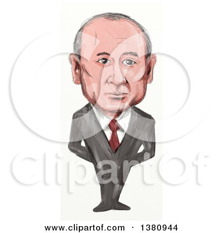 Clipart of a Sketched Caricature of Vladimir Vladimirovich Putin, Politician and President of Russia - Royalty Free Illustration by patrimonio