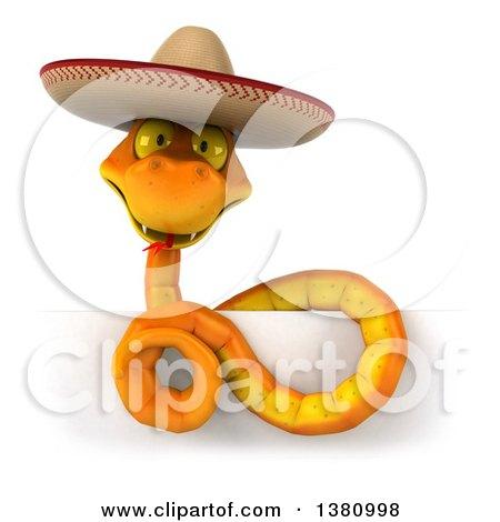 d2046e0ceea Clipart of a 3d Orange Snake Wearing a Cowboy Hat, on a White ...