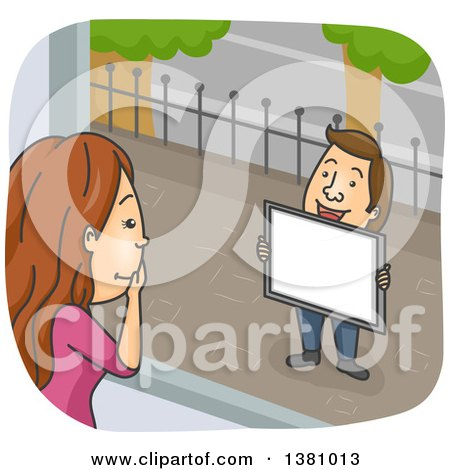 Clipart of a Cartoon Caucasian Woman Looking out of a Window at Her Boyfriend As He Proposes Marriage - Royalty Free Vector Illustration by BNP Design Studio