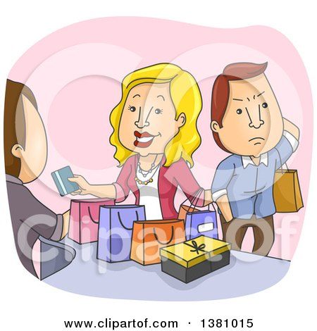 Clipart of a Cartoon Annoyed Caucasian Husband Waiting As His Wife Shops in a Store - Royalty Free Vector Illustration by BNP Design Studio