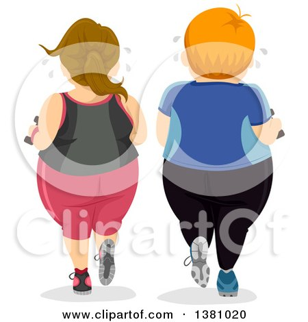 Clipart of a Rear View of a Chubby Caucasian Couple Working out Together - Royalty Free Vector Illustration by BNP Design Studio