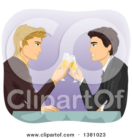 Clipart of a Caucasian Gay Couple Toasting with Champagne at a Table - Royalty Free Vector Illustration by BNP Design Studio