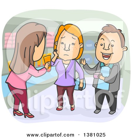 Clipart of a Cartoon Caucasian Woman Selling Anti Acne Products to a Couple - Royalty Free Vector Illustration by BNP Design Studio