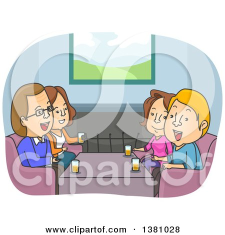 Clipart of a Cartoon Happy Couple Talking with Parents - Royalty Free Vector Illustration by BNP Design Studio
