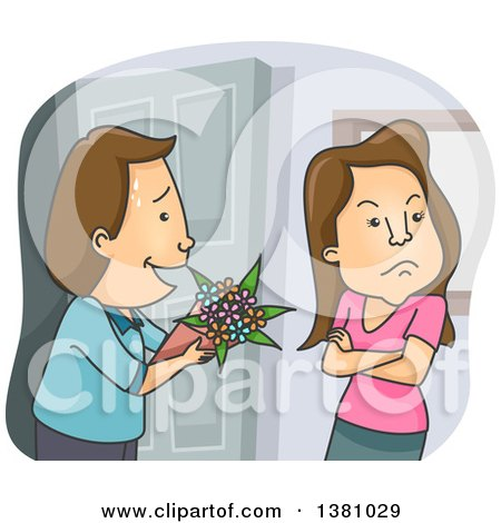 Clipart of a Man Trying to Offer Flowers to an Angry Woman - Royalty Free Vector Illustration by BNP Design Studio
