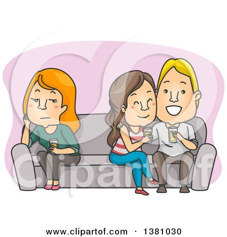 Clipart of a Cartoon Lonely Caucasian Woman Sitting on the Opposite End of a Couch from a Couple - Royalty Free Vector Illustration by BNP Design Studio