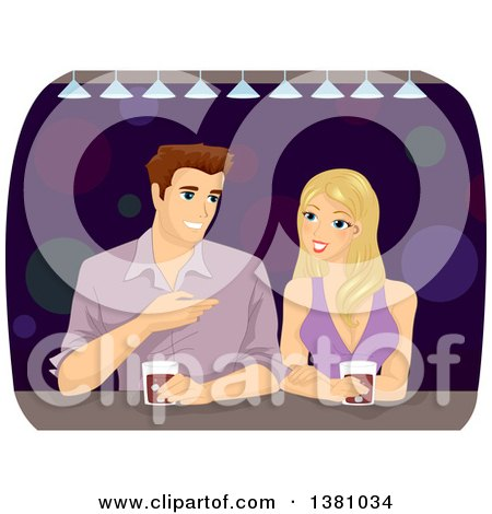 Clipart of a Caucasian Man and Woman Talking and Drinking at a Bar - Royalty Free Vector Illustration by BNP Design Studio