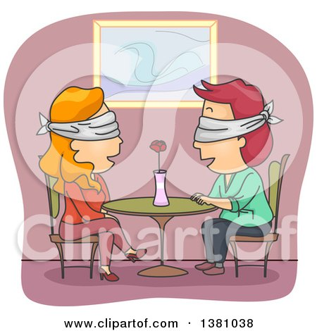 Clipart of a Blindfolded Couple Talking at a Table on a Date - Royalty Free Vector Illustration by BNP Design Studio