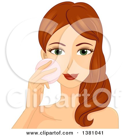 Clipart of a Brunette Caucasian Woman Applying Pressed Powder Makeup - Royalty Free Vector Illustration by BNP Design Studio