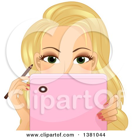 Clipart of a Blond Caucasian Woman Watching a Tutorial on Her Tablet While Applying Eyeliner - Royalty Free Vector Illustration by BNP Design Studio