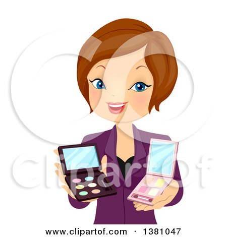 Clipart of a Brunette Caucasian Beauty Consultant Woman Recommending Makeup - Royalty Free Vector Illustration by BNP Design Studio