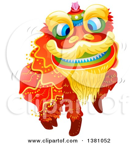 Clipart of a Dancing Chinese New Year Dragon - Royalty Free Vector Illustration by BNP Design Studio