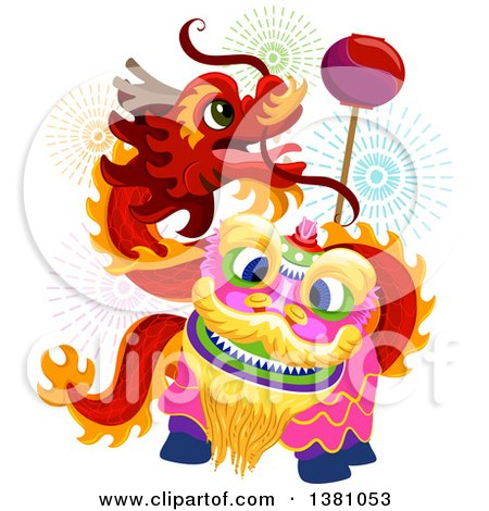 Clipart Of A Dancing Chinese New Year Dragon And Fireworks Royalty Free Vector Illustration