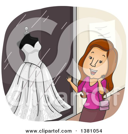 Clipart of a Cartoon Happy Brunette White Woman Window Shopping for a Wedding Dress - Royalty Free Vector Illustration by BNP Design Studio