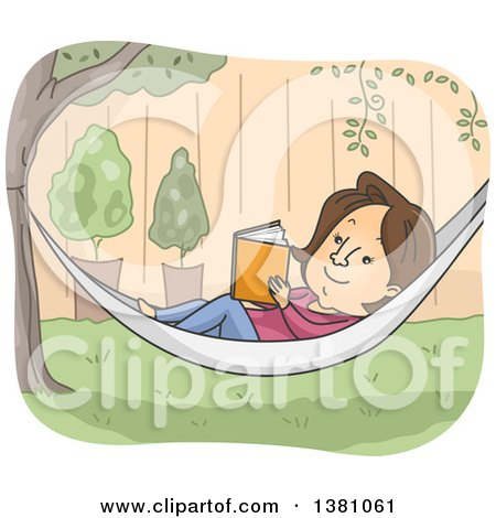 Clipart of a Cartoon Brunette White Woman Reading a Book in a Hammock in a Yard - Royalty Free Vector Illustration by BNP Design Studio