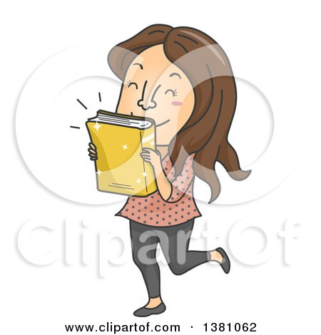 Clipart of a Cartoon Brunette White Woman Kissing a Newly Released Book - Royalty Free Vector Illustration by BNP Design Studio
