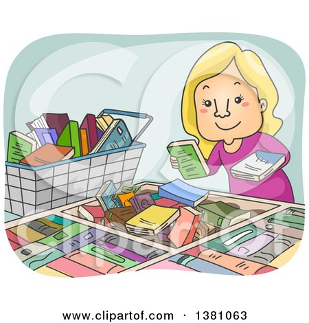 Clipart of a Cartoon Happy Blond White Woman Picking Through Books for Sale - Royalty Free Vector Illustration by BNP Design Studio