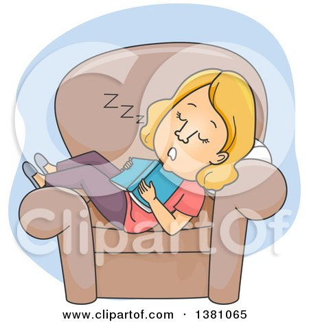 Clipart of a Cartoon Blond White Woman Dozing in a Chair in the Middle of Reading a Book - Royalty Free Vector Illustration by BNP Design Studio