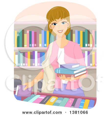 Clipart of a Happy Dirty Blond White Woman Selecting Books at a Store or Library - Royalty Free Vector Illustration by BNP Design Studio
