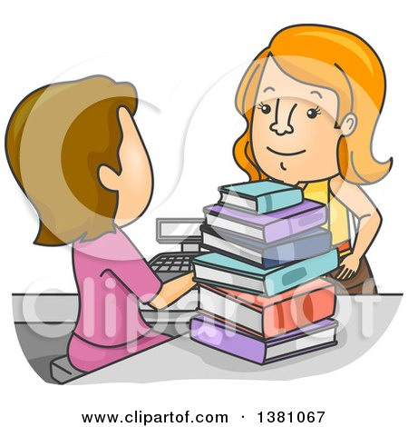 Clipart of a Cartoon Cashier Ringing up a Woman at a Book Store - Royalty Free Vector Illustration by BNP Design Studio