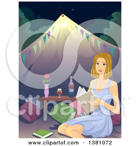 Clipart of a Happy Blond White Woman Reading a Book While Glamping - Royalty Free Vector Illustration by BNP Design Studio