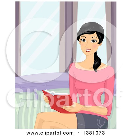 Clipart of a Happy Woman Reading a Book by a Window - Royalty Free Vector Illustration by BNP Design Studio