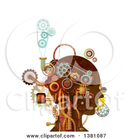Clipart of a Steampunk Human Head with Mechanical Gears and Pipes - Royalty Free Vector Illustration by BNP Design Studio
