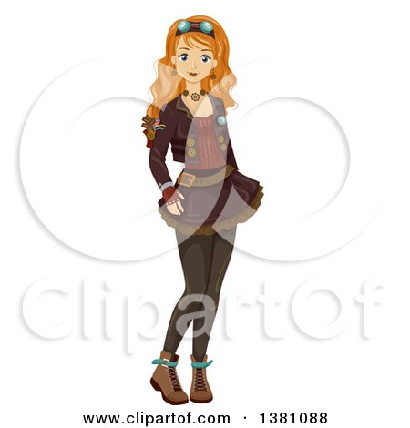 Clipart of a Happy Caucasian Teenage Girl in Steampunk Clothing - Royalty Free Vector Illustration by BNP Design Studio