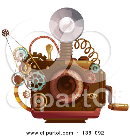 Clipart of a Steampunk Camera with a Flash and Gears - Royalty Free Vector Illustration by BNP Design Studio
