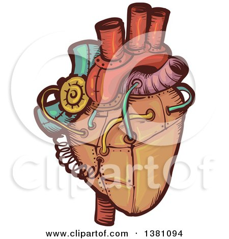Clipart of a Steampunk Human Heart - Royalty Free Vector Illustration by BNP Design Studio