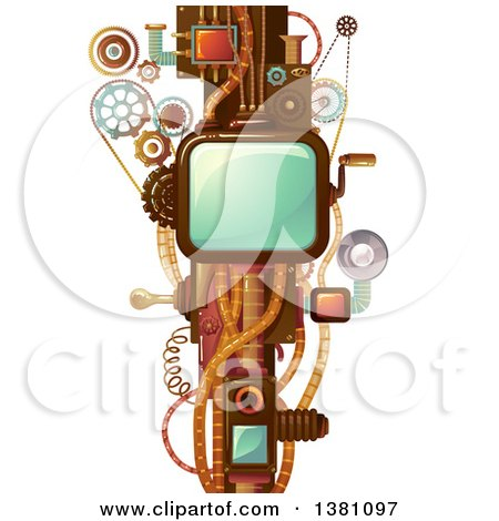 Clipart Of A Steampunk Frame With Cogs Handles And Wheels