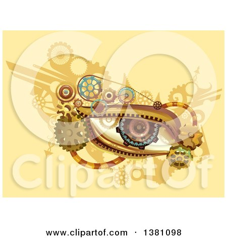 Clipart of a Steampunk Human Eye with Gears on Yellow - Royalty Free Vector Illustration by BNP Design Studio
