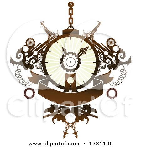 Clipart of a Steampunk Clock with Gears and a Banner - Royalty Free Vector Illustration by BNP Design Studio