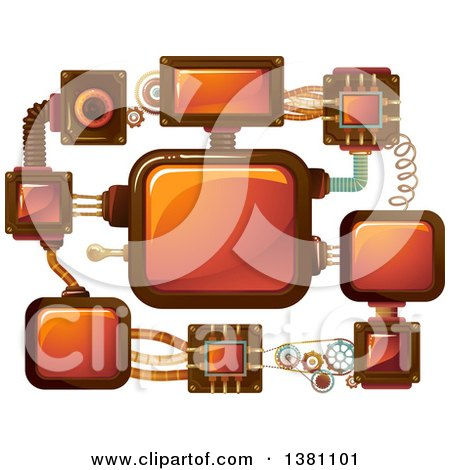 Clipart of a Network of Steampunk Screens - Royalty Free Vector Illustration by BNP Design Studio