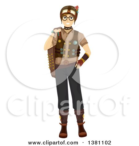 Clipart of a Happy Caucasian Teenage Guy in Steampunk Clothing - Royalty Free Vector Illustration by BNP Design Studio