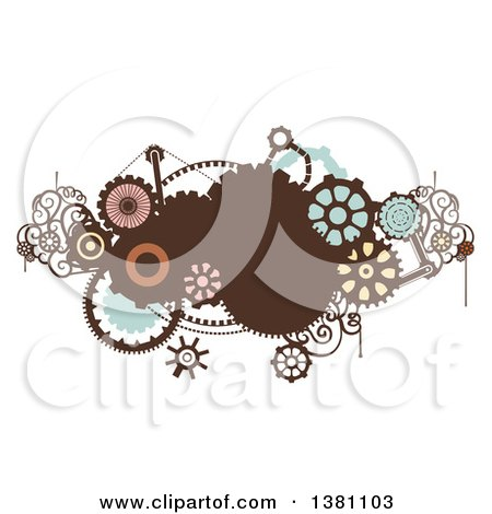 Clipart of a Steampunk Design with Gears - Royalty Free Vector Illustration by BNP Design Studio
