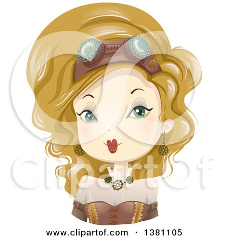 Clipart of a Blond Caucasian Steampunk Woman - Royalty Free Vector Illustration by BNP Design Studio