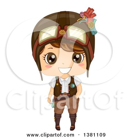 Clipart of a Cute Steampunk Boy Wearing a Helmet - Royalty Free Vector Illustration by BNP Design Studio