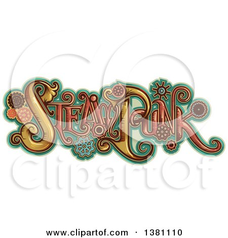 Clipart Of Steampunk Text With Gears Over Turquoise Royalty Free Vector Illustration