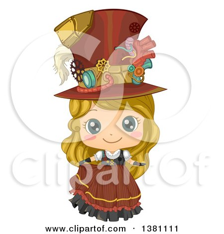 Clipart of a Cute Blond Caucasian Steampunk Girl Posing in a Dress and Hat - Royalty Free Vector Illustration by BNP Design Studio