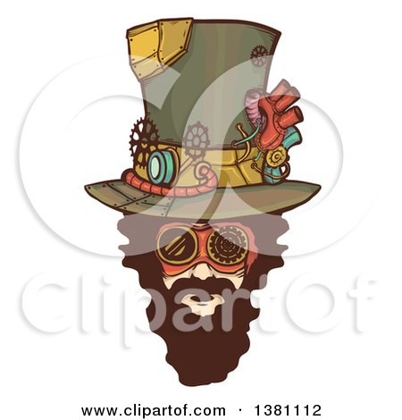 Clipart of a Bearded White Steampunk Mans Face Wearing a Top Hat - Royalty Free Vector Illustration by BNP Design Studio