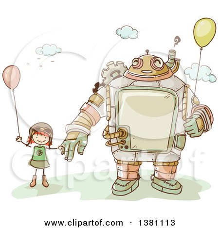 Clipart of a Sketched Steampunk Robot and Stick Girl Holding Balloons - Royalty Free Vector Illustration by BNP Design Studio